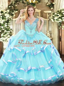 Affordable Aqua Blue Ball Gowns Organza V-neck Sleeveless Ruffled Layers Floor Length Lace Up Sweet 16 Dress