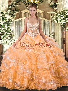 Organza Straps Sleeveless Lace Up Beading and Ruffled Layers Sweet 16 Dresses in Orange