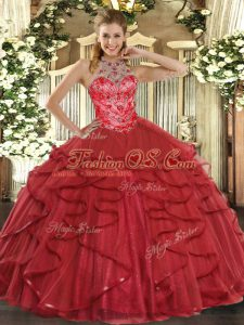 Romantic Coral Red Sleeveless Beading and Ruffles Floor Length Sweet 16 Dress