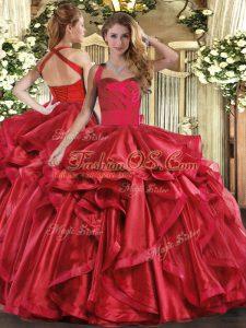 Wine Red Organza Lace Up 15th Birthday Dress Sleeveless Floor Length Ruffles