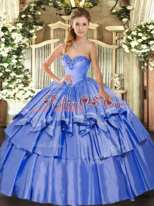 Amazing Sleeveless Lace Up Floor Length Beading and Ruffled Layers Quince Ball Gowns