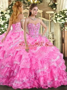 Embroidery and Ruffled Layers Quinceanera Gown Rose Pink Lace Up Sleeveless Floor Length