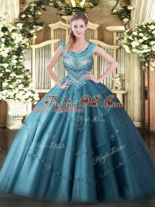 Teal Ball Gowns Scoop Sleeveless Tulle Floor Length Lace Up Beading and Appliques Sweet 16 Dresses