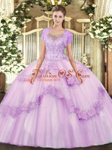 Modest Lilac Tulle Clasp Handle Ball Gown Prom Dress Sleeveless Floor Length Beading and Appliques