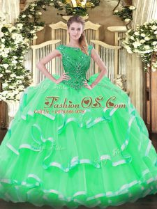 Most Popular Apple Green Ball Gowns Organza Scoop Sleeveless Beading and Ruffled Layers Floor Length Lace Up Vestidos de Quinceanera