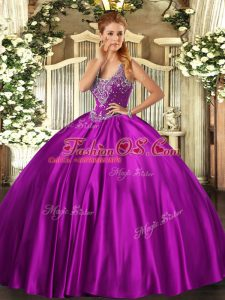 Sleeveless Satin Floor Length Lace Up Quinceanera Dress in Fuchsia with Beading