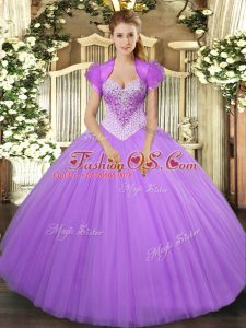 New Arrival Lavender Tulle Lace Up Quinceanera Dress Sleeveless Floor Length Beading