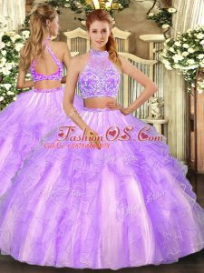 Beading and Ruffled Layers Quinceanera Dresses Lavender Criss Cross Sleeveless Floor Length