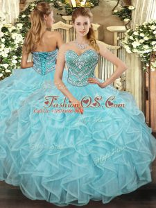 Sleeveless Tulle Floor Length Lace Up Quinceanera Gown in Aqua Blue with Beading and Ruffled Layers
