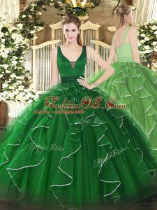 Custom Designed Sleeveless Floor Length Beading and Ruffles Zipper 15th Birthday Dress with Green