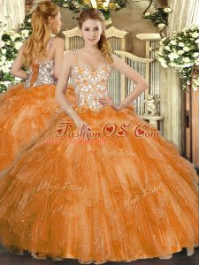 Noble Orange Ball Gowns Tulle Straps Sleeveless Beading and Ruffles Floor Length Lace Up Vestidos de Quinceanera