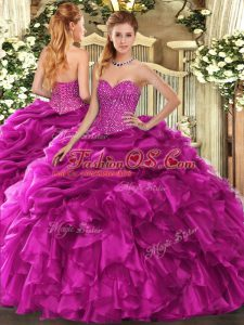 Artistic Fuchsia Ball Gowns Beading and Ruffles and Pick Ups Sweet 16 Dresses Lace Up Organza Sleeveless Floor Length