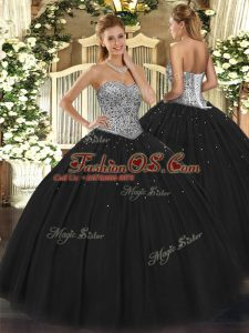 Floor Length Lace Up Sweet 16 Quinceanera Dress Black for Military Ball and Sweet 16 and Quinceanera with Beading