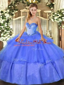 Blue Sweetheart Lace Up Beading and Ruffled Layers Quince Ball Gowns Sleeveless