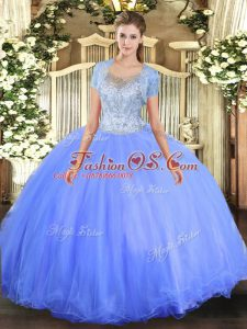 Trendy Blue Ball Gowns Tulle Scoop Sleeveless Beading Floor Length Clasp Handle Sweet 16 Dress