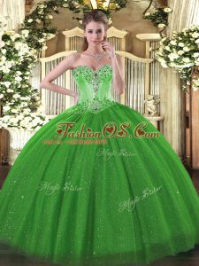 Green Tulle and Sequined Lace Up Quinceanera Gowns Sleeveless Floor Length Beading
