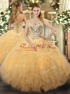 Luxury Sleeveless Beading and Ruffles Lace Up Quinceanera Dress
