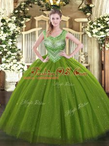 Olive Green Ball Gowns Beading Quinceanera Gown Lace Up Tulle and Sequined Sleeveless Floor Length