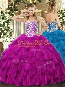 Fashion Sweetheart Sleeveless Lace Up Quince Ball Gowns Fuchsia Tulle