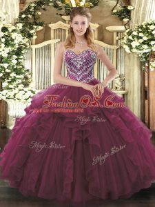 Beading and Ruffles Vestidos de Quinceanera Burgundy Lace Up Sleeveless Floor Length