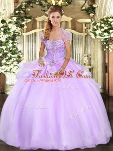 Appliques Quince Ball Gowns Lavender Lace Up Sleeveless Floor Length