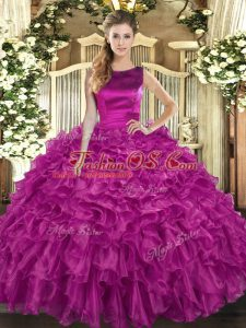Customized Floor Length Fuchsia Vestidos de Quinceanera Scoop Sleeveless Lace Up