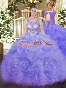Lavender Sleeveless Organza Lace Up Quince Ball Gowns for Sweet 16 and Quinceanera
