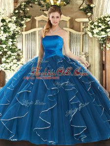 Glamorous Floor Length Ball Gowns Sleeveless Blue Ball Gown Prom Dress Lace Up
