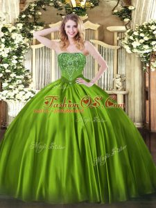 Romantic Olive Green Satin Lace Up Quinceanera Gown Sleeveless Floor Length Beading