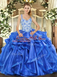 Straps Sleeveless Lace Up Quinceanera Dresses Blue Organza