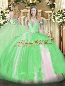 Tulle Sweetheart Sleeveless Lace Up Beading and Ruffles Quinceanera Dress in
