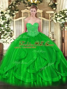 Ideal Ball Gowns Sweet 16 Quinceanera Dress Green Sweetheart Organza Sleeveless Floor Length Lace Up