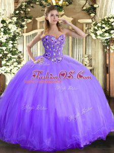 Sweetheart Sleeveless Ball Gown Prom Dress Floor Length Embroidery Lavender Organza and Tulle