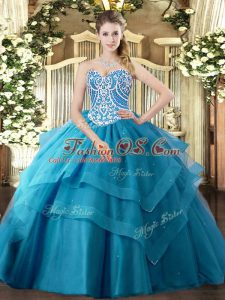 Ideal Tulle Sleeveless Floor Length Quinceanera Gowns and Beading and Ruffled Layers
