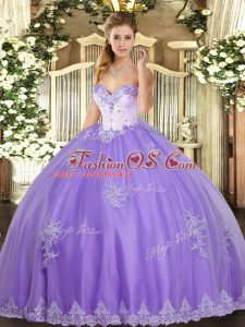 Low Price Lavender Sleeveless Tulle Lace Up Quince Ball Gowns for Military Ball and Sweet 16 and Quinceanera