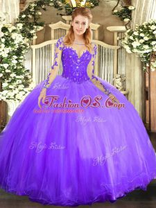 Lavender Long Sleeves Lace Floor Length Quince Ball Gowns