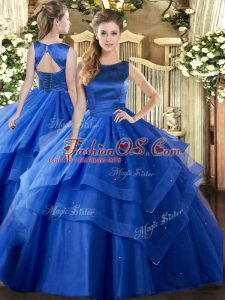 Ideal Blue Scoop Lace Up Ruffled Layers Sweet 16 Quinceanera Dress Sleeveless