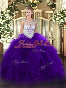 Ideal Scoop Sleeveless 15 Quinceanera Dress Floor Length Beading and Ruffles Purple Tulle