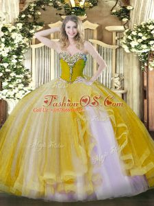 Gold Sleeveless Floor Length Beading and Ruffles Lace Up Quinceanera Gowns