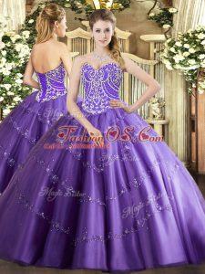Customized Lavender Sleeveless Beading and Appliques Floor Length Quinceanera Dress