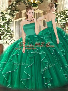 Fashionable Dark Green Sleeveless Tulle Zipper Sweet 16 Quinceanera Dress for Military Ball and Sweet 16 and Quinceanera
