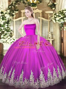 Fuchsia Sweet 16 Dresses Military Ball and Sweet 16 and Quinceanera with Appliques Strapless Sleeveless Zipper