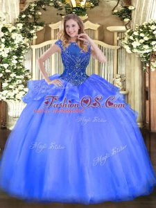 Colorful Organza Cap Sleeves Floor Length Quinceanera Gown and Beading
