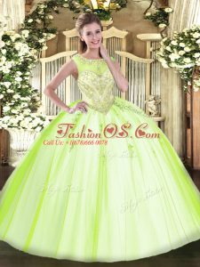 Pretty Sleeveless Zipper Floor Length Beading and Appliques Quinceanera Dresses