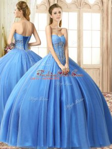 Baby Blue Sleeveless Beading Floor Length 15 Quinceanera Dress