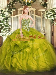 Glamorous Olive Green Sweetheart Neckline Beading and Ruffles Sweet 16 Dresses Sleeveless Lace Up