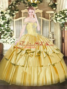 Pretty Gold Lace Up Off The Shoulder Beading and Ruffled Layers Sweet 16 Dresses Organza and Taffeta Sleeveless