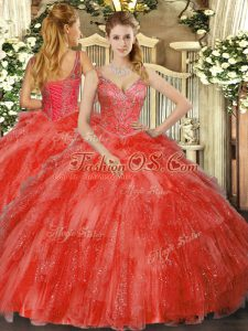 Stylish Red Sleeveless Tulle Lace Up Quinceanera Gowns for Military Ball and Sweet 16 and Quinceanera