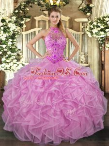 Sleeveless Floor Length Beading and Embroidery and Ruffles Lace Up Sweet 16 Quinceanera Dress with Lilac