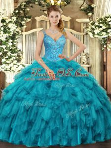 Pretty Teal Sleeveless Organza Lace Up Sweet 16 Dress for Military Ball and Sweet 16 and Quinceanera